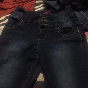 High waisted skinny jeans , size 9 YMI dark wash
