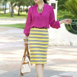 Dresses & Skirts - Boutique Item: Yellow and Grey Pencil Skirt