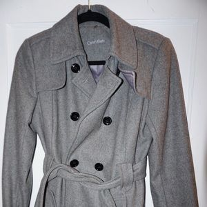 Calvin Klein DoubleBreasted Wool Trench Coat Ash