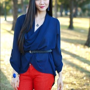 Tops - Boutique Item: Navy Blue Blouse With Belt