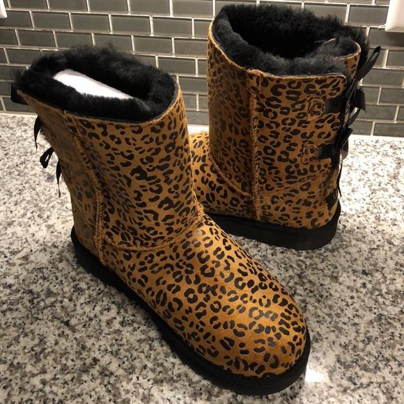 ugg shoes   boots cheetah print bailey bow   poshmark