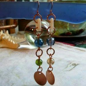 Boho Style Glass Earrings, Copper Disc Earrings