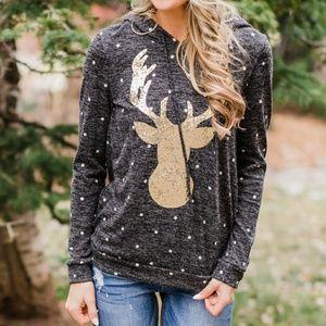 Boutique Sequin Polka Dot Deer Hoodie