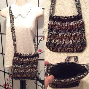 Brown, gray, cream & metallic knit crossbody bag