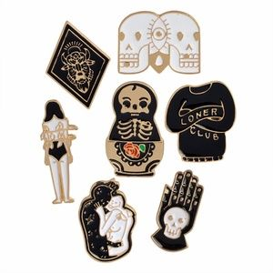 Jewelry - SALE! 7pc Gothic Pin Set   Lapel Pin Brooch Goth