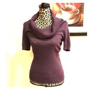 BCBG purple cowl neck short sleeve sweater - Small