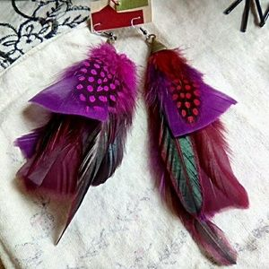 Jewelry - Purple Pink Feather Earrings, Tribal Style Jewelry
