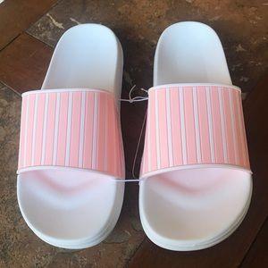 Pink striped slides