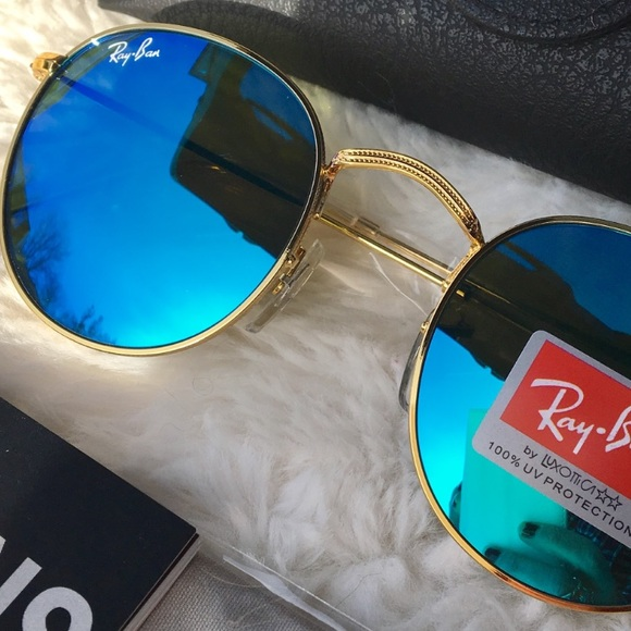 f906494cdb13 Ray Ban Sunglasses RB3447 Round Blue flash