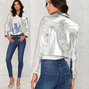 Nasty Gal Jerry Metallic Leather jacket