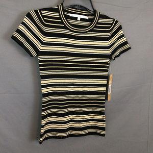 Striped Metallic Sweater Tee Top Short Sleeve Crew