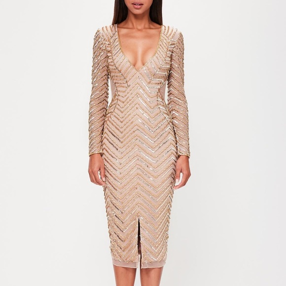 1f88a237d1 Peace+Love Nude Embellished Dress Missguided. M 5a220459981829dfbd00dd9d