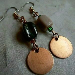 Jewelry - New Raw Copper Disc Drop Earrings, Glass Earrings
