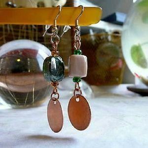 New Raw Copper Disc Drop Earrings, Glass Earrings