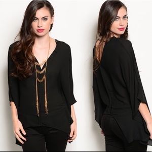 Tops - Boutique Black Asymmetrical Top