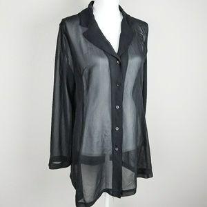 Express Black Sheer Long Cut Chiffon Button Shirt