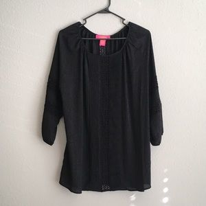 Lace and Pleated Detail Sheer Blouse