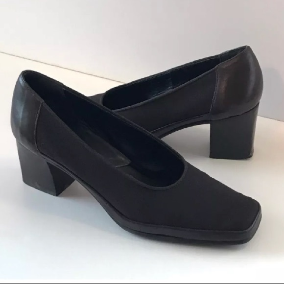 Rangoni Black Made in Italy Square Toe Chunky Heels Shoes 7.5B