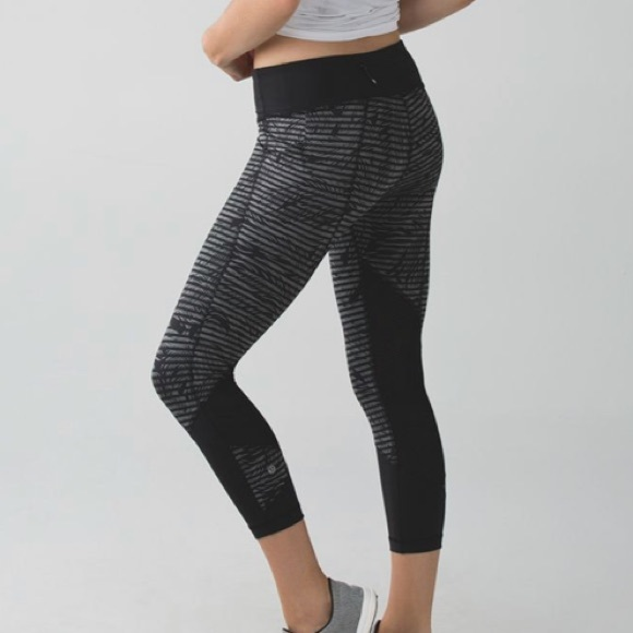 709992f26c76a lululemon athletica Pants - Lululemon Pace Rival Crop Stripe Play Slate  Black