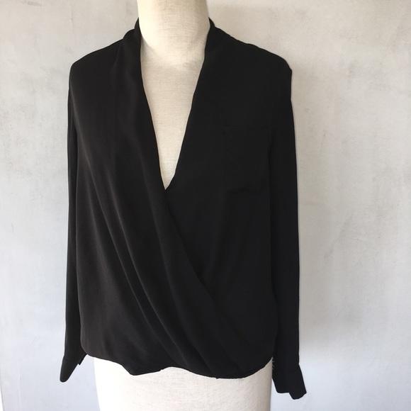 da923dc03d683b TOPSHOP ~ black semi sheer surplice blouse size 2.  M_5a2215f9b4188ed782012464