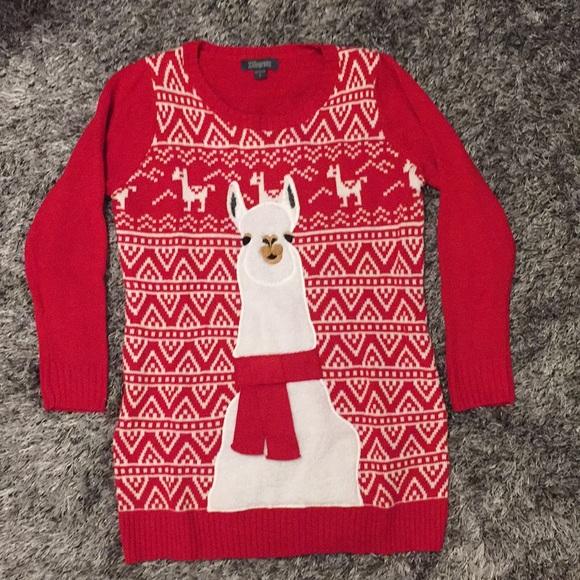 llama ugly christmas sweater tunic alpaca