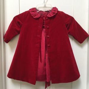 Chasing Fireflies Biscotti Red Dress w/Coat Sz 12M
