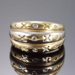 Jewelry - SOLID 14K YELLOW GOLD GENUINE DIAMOND TRIPLE RING