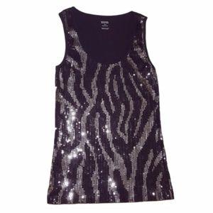 Michael Kors Zebra Print Sequin Tank Top