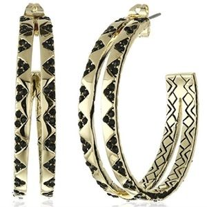 house of harlow // gold-plated pavé split hoops