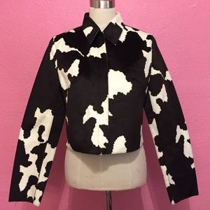 Cow print cropped leather jacket