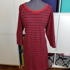 Red and black striped shift dress