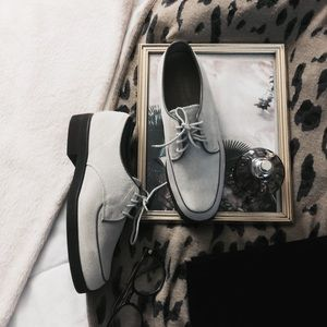Hush Puppies•Cool Grey/Cream Suede Leather Loafers