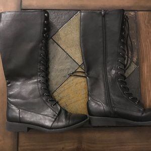 Tall lace up black combat boots- Size 8