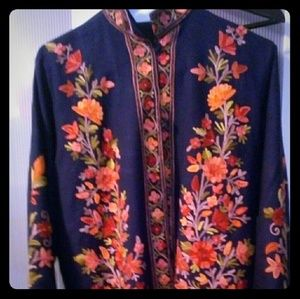Jackets & Blazers - Gorgeous navy blue wool embroidered jacket. NWOT