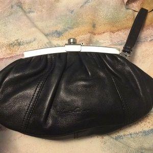 Handbags - Kenneth Cole black leather clutch /  Wristlet