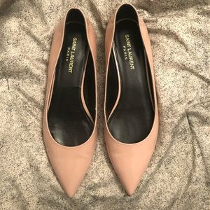 Saint Laurent Light Pink Pointy-Toed Ballet Flats