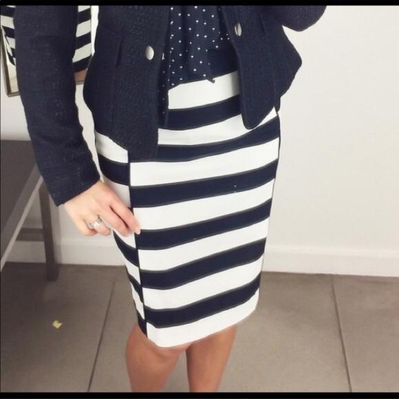 9c148b49bf H&M Dresses & Skirts - Navy & White Striped Pencil Skirt