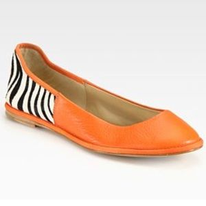 Diane von Furstenberg Botswana Zebra Leather Flats