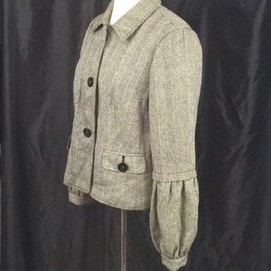 Emma James herringbone wool blend coat