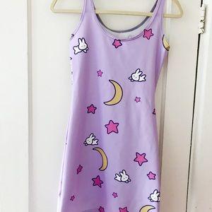 Dresses & Skirts - Lavender kawaii Fairy Kei Sailor Moon print dress