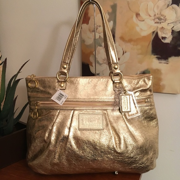 NWT COACH POPPY LEATHER GLAM GOLD XL TOTE 15286
