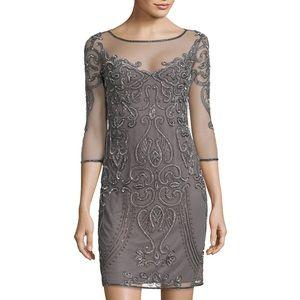 Gray beaded three quarter sleeve dress never worn