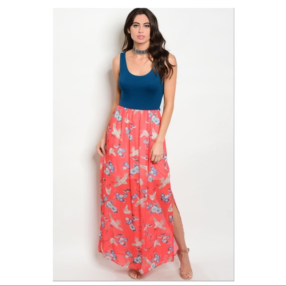 5bd3a47292 Teal and coral floral maxi dress. Boutique. Gilli
