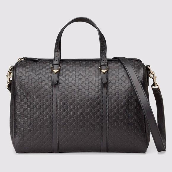92c379722db New GUCCI Black Leather Micro GG Guccissima Boston