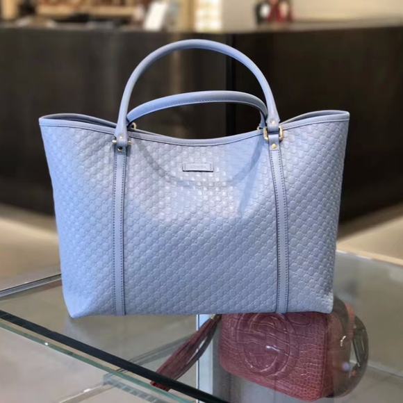 48ff927b143e Gucci Bags | Light Blue Leather Micro Gg Ssima Tote | Poshmark