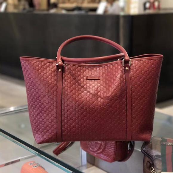 57446156c7fc Gucci Bags | New Red Leather Micro Gg Ssima Tote | Poshmark