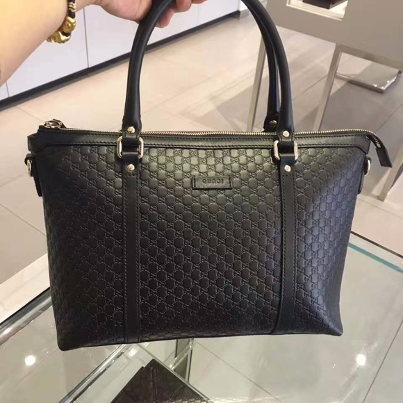 4e241592dfea Gucci Bags | Black Leather Micro Gg Medium Convertible | Poshmark