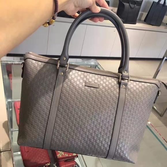 cc765b2c8874 Gucci Grey Leather Micro GG Medium Convertible