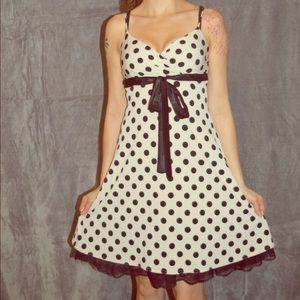 Polka Dot dress with black lace underlay