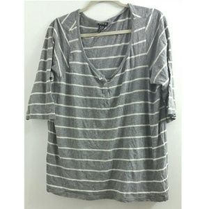 Torrid 2x Striped V Neck Tee With 3/4 Sleeves